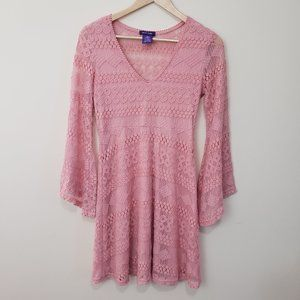HOT GAL Pink Crochet Boho Dress